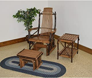 A & L Furniture Co. Amish Bentwood 7-Slat Hickory Rocking Chair with Foot Stool and End Table Set - Ships Free in 5-7 Business Days