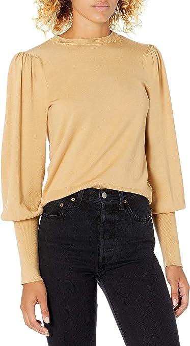 The Drop Vivienne Jersey con Cuello Redondo, Mangas Globo Y Hombreras Pullover-Sweaters Mujer