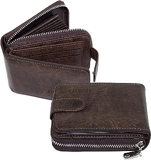 Storite Imported 11 Slot Leather Zipper Credit Debit Card Holder with 3 ID Window for Men & Women - (12 x 3 x 8 cm) Dark Brown