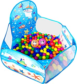KingBee Ball Pit Pop Up Children Play Tent, Ocean Pool Baby Tent with Basketball Hoop - Toys Gifts for Kids Girls Boys Toddlers 1 2 3 4 5 6 Year Old - Balls Not Included