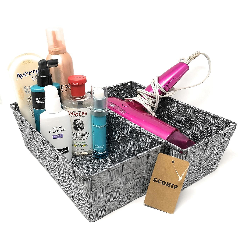 ECOHIP 2-Pack Grey Woven Strap Baskets Storage Bins Bathroom Makeup Desk Organizer Cubes