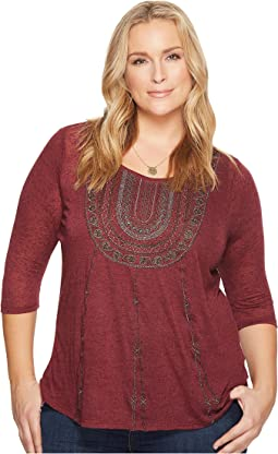 Lucky Brand Plus Size Embroidered Bib Tee