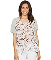 TWO by Vince Camuto - Short Sleeve Painterly Muses Raglan Mixed Media Tee