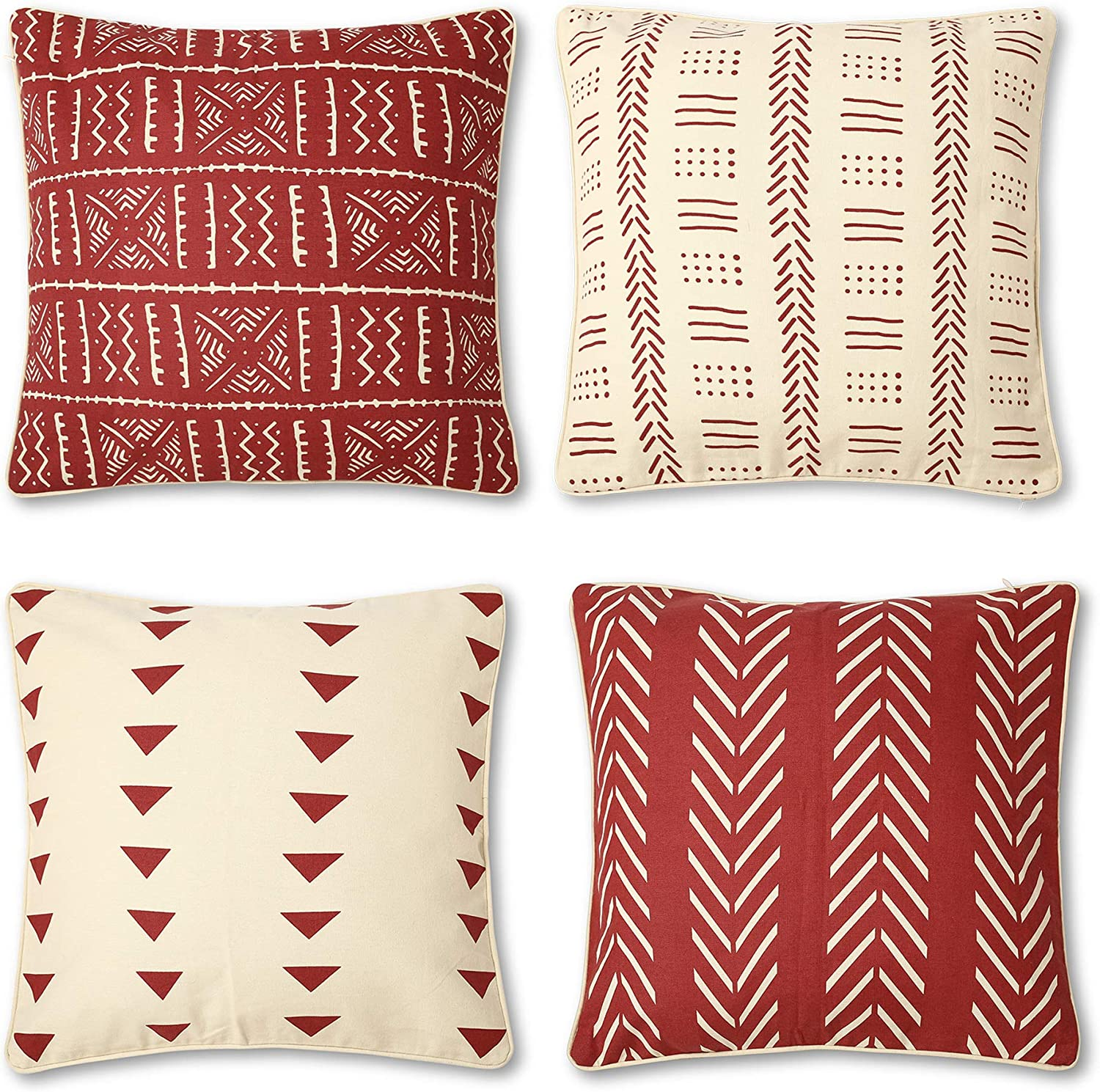 REDEARTH Printed Throw Pillow Cushion Covers-Woven Decorative Farmhouse Cases Set for Couch, Sofa, Bed, Farmhouse, Chair, Dining, Patio, Outdoor, car; 100% Cotton (18x18; Deep Red) Pack of 4