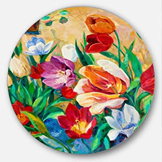 Designart Bouquet of Colorful Flowers-Floral Metal Artwork - Disc of 23, 23X23-Disc of 23 inch