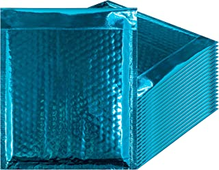 Amiff Bubble mailers 6.5 x 9. Padded envelopes 6 1/2 x 9. Pack of 25 Teal cushion envelopes. Exterior size 8 x 9.5 (8 x 9 1/2). Peel & Seal. Glamour Metallic foil. Mailing, shipping, packing