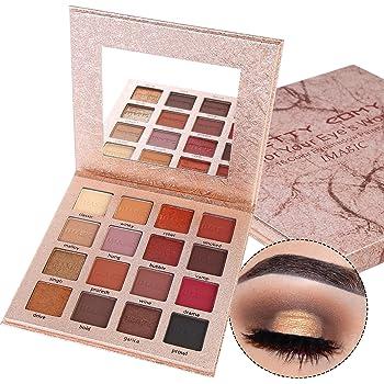 Pretty Comy 16 colores sombra de ojos mate Shimmer impermeable durable paleta de sombra de ojos paleta de regalos de cumpleaños: Amazon.es: Belleza