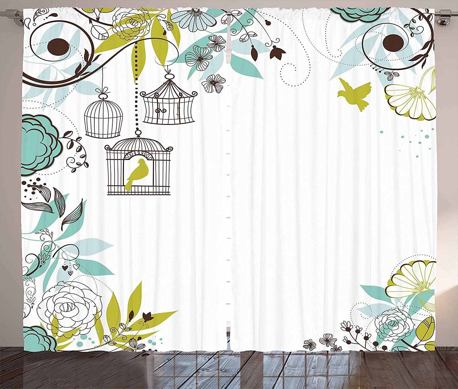 Long Beach Mall Lowest price challenge Lunarable Birds Curtains Blooming Tropical An Floral Background