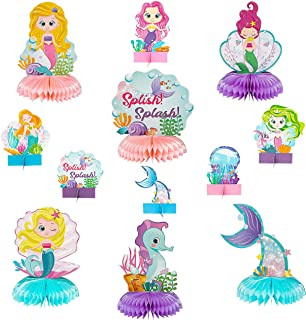 WATINC 12pcs Mermaid Honeycomb Centerpieces, Mermaid Tail Birthday Party Table Toppers Honeycomb, Ocean Animal for Baby Sh...