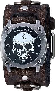 Nemesis Heavy Skull Stainless Steel Analog-Quartz Leather Strap, Black, 38.6 Casual Watch (Model: KDFRB926K
