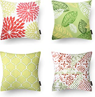 Phantoscope Set of 4 New Living Yellow and Green Decorative Throw Pillow Case Cushion Cover 18 x 18 inches 45 x 45 cm