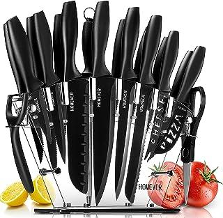 HOMEVER couteau cuisine Professionnels, Ensemble de Couteaux de Cuisine en Acier Inoxydable Avec Bloc Acrylique, 6 Steak C...