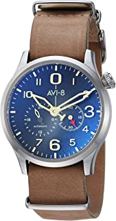 AVI-8 Men's AV-4048 FlyBoy Analog Display Japanese Automatic Watch with Leather Band