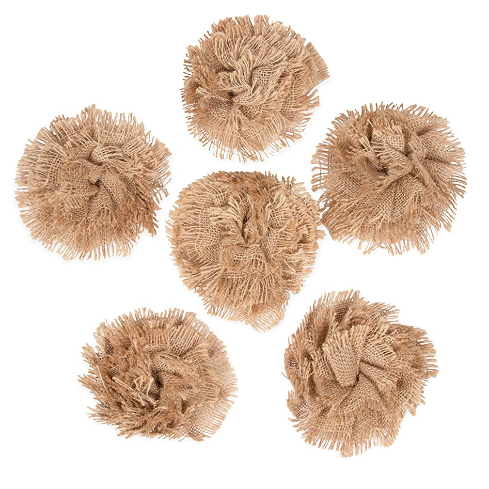 Genie Crafts 6-Pack Lace Burlap 5-Inch Fabric Flower Embellishments for Crafts, DIY Wedding Decorations, and Floral Ornaments