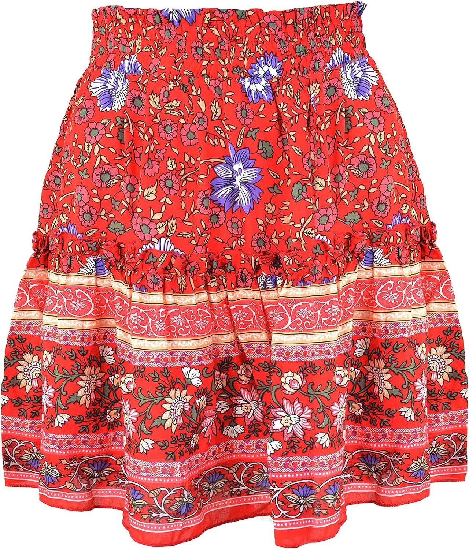 QZH.DUAO Boho Floral High Waist Ruffle Mini Skirt for Women