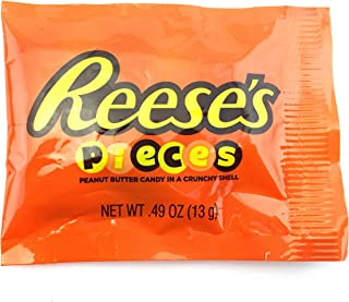 LaetaFood Bag - Reese's Pieces Peanut Butter Candy in a Crunchy Shell, Fun Snack Size 0.49-Ounce (Pack of 50)