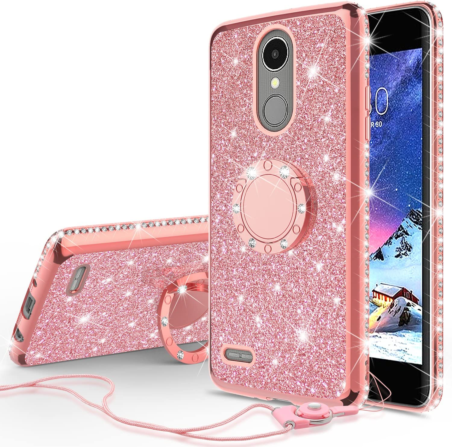 [GW USA] Glitter Cute Phone Case with Kickstand Compatible for LG K20v Case,LG K20 Plus Case, LG Harmony Case,Bling Diamond Rhinestone Bumper Ring Stand Sparkly Clear Thin Soft Girls Women (Rose Gold)