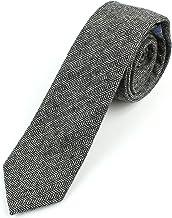 "Men`s Wool Herringbone Skinny Necktie Tie - 2 1/2"" Width Textured Warm Style"