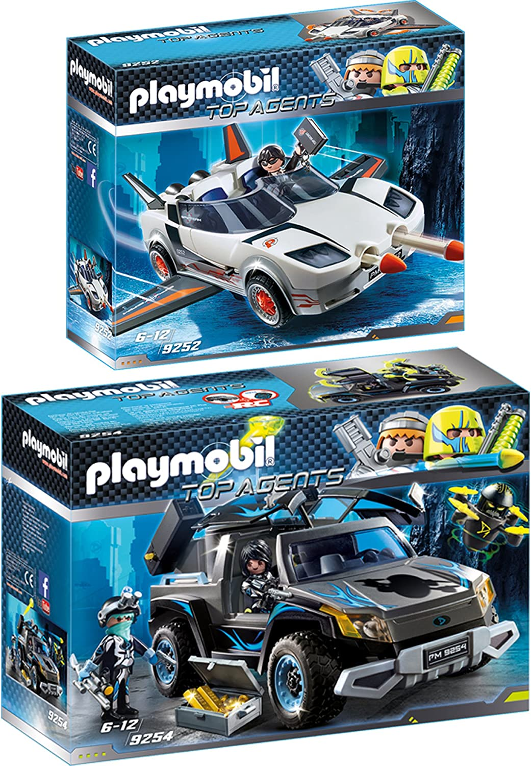 Playmobil Top Agents 2pcs. Set 9252 9254 Agent P. with Racer + Dr. Drone's Pickup