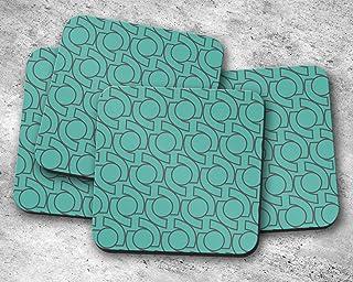 Posavasos verde con diseño geométrico de círculos grises, posavasos individuales o juego de 4