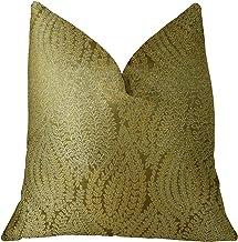 "Plutus Brands Plutus Leaf Pod Handmade Throw Pillow 20"" x 36"" King Gold"