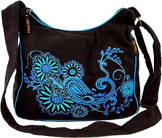 GURU SHOP Schultertasche, Hippie Tasche, Goa Tasche - Grün, Herren/Damen, Baumwolle, 23x28x12 cm, Alternative Umhängetasch...