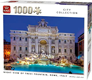 KING 55852 Night View of Trevi Fountain Rome Jigsaw Puzzle 1000-Piece, Full Colour, 68x49 cm