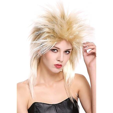 WIG ME UP - 90891-ZA89TZA88 Parrucca Donna Uomo Carnevale Anni 80 Wave Punk Popstar Mix Biondo Cotonata
