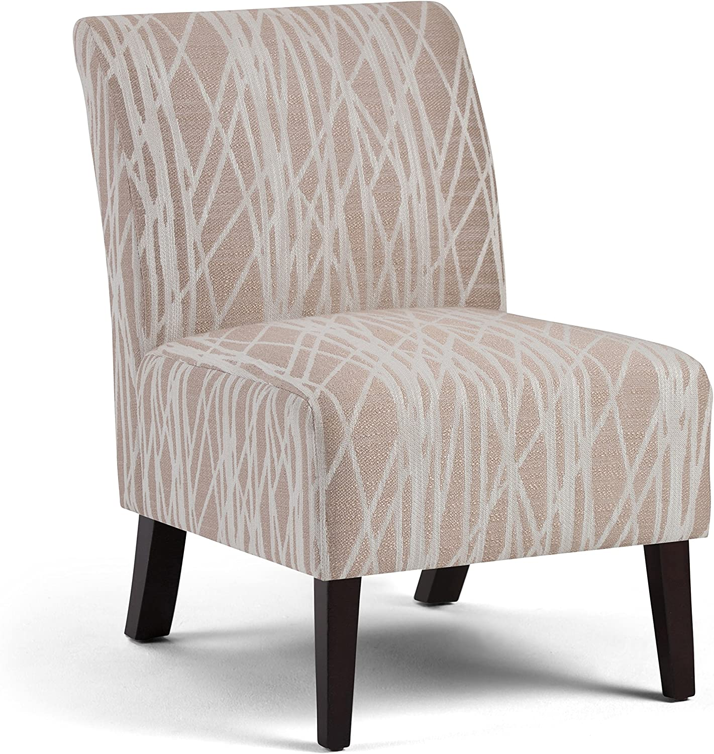 Simpli Home AXCCHR-008-BG Woodford 22 inch Wide Transitional Accent Chair in Beige, White Patterned Fabric