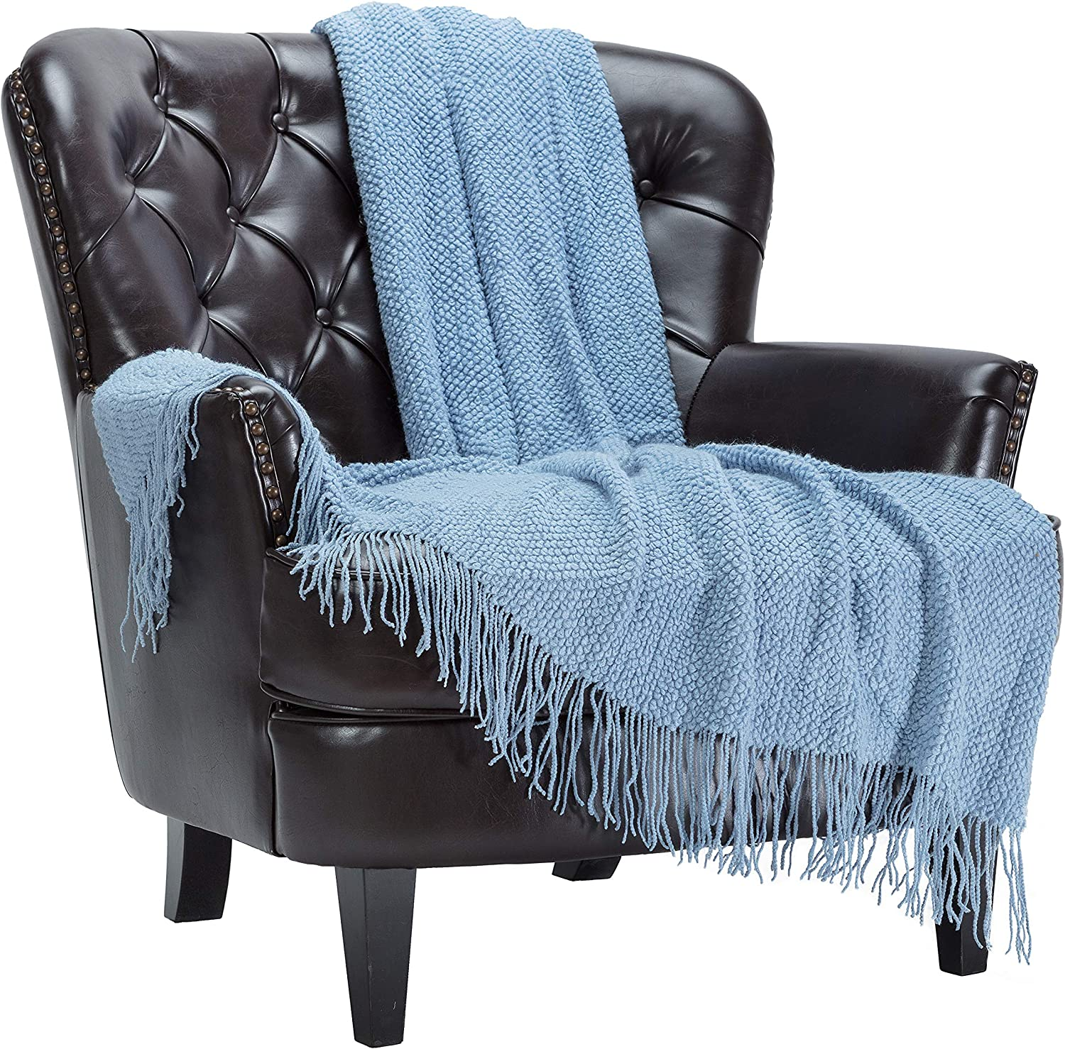 Chanasya Direct sale of manufacturer Textured Knitted Light Blue With Max 62% OFF Tassel Throw - Blanket