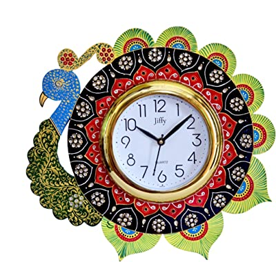 RR Handicrafts Hand Painted Peacock Wooden Wall Clock (13 X 13 Inch)