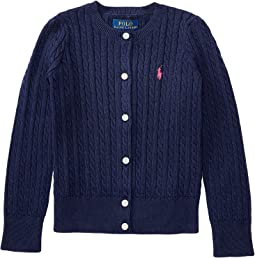 Cable Knit Cotton Cardigan (Little Kids)