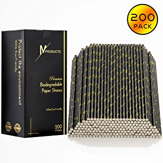 200-Pack Paper Straws – Disposable Biodegradable Drinking Straws – Unique Black & Gold Elegant Design – Have A Nice Day Inscription – Ideal for Special Events, Wedding, Birthday Party, Home Use