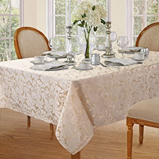 Lahome Elegant Damask Jacquard Tablecloth - Polyester Fabric Spillproof Water Resistant Washable Table Cover for Kitchen D...