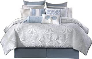 Harbor House Crystal Beach Cal King Size Bed Comforter Set - Pale Blue, Quilted Coastal Seashells – 4 Pieces Bedding Sets – 100% Cotton Bedroom Comforters