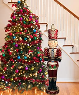 Fraser Hill Farm FFRS063-SOL5-RD Indoor/Outdoor Oversized Christmas, 5-Ft. Drummer Boy w/Moving Hands, Music, Timer, and 22 LED Lights Holiday Decoration, Color 3