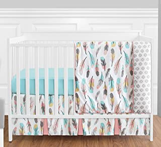 Feather Baby Girls 4 Piece Crib Bedding Set Without Bumper