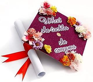 GradWYSE Handmade Graduation Cap Topper Graduation Gifts Graduation Cap Decorations, What She Tackles She Conquers Purple
