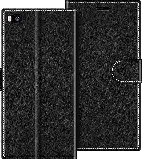 COODIO Funda Huawei P8 con Tapa, Funda Movil Huawei P8, Funda Libro Huawei P8 Carcasa Magnético Funda para Huawei P8, Negro