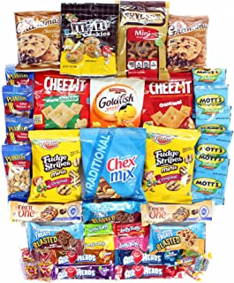 Cookies Chips & Candies Variety Pack Bundle Assortment Includes Cheez-It's Goldfish Laffy Taffy Rice Krispy Treats Chex Mix & More Bulk Sampler 40 Count