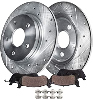 Detroit Axle - Pair (2) Rear Drilled and Slotted Disc Brake Rotors w/Ceramic Pads w/Hardware for 2010 2011 2012 2013 2014 Hyundai Santa Fe - [2011-2014 Kia Sorento] - 13-14 Santa Fe XL