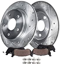 Detroit Axle - Pair (2) Rear Drilled and Slotted Disc Brake Rotors w/Ceramic Pads w/Hardware for 06-12 Ford Fusion - [07-12 Lincoln MKZ] - 06-13 Mazda 6 - [06-11 Mercury Milan]