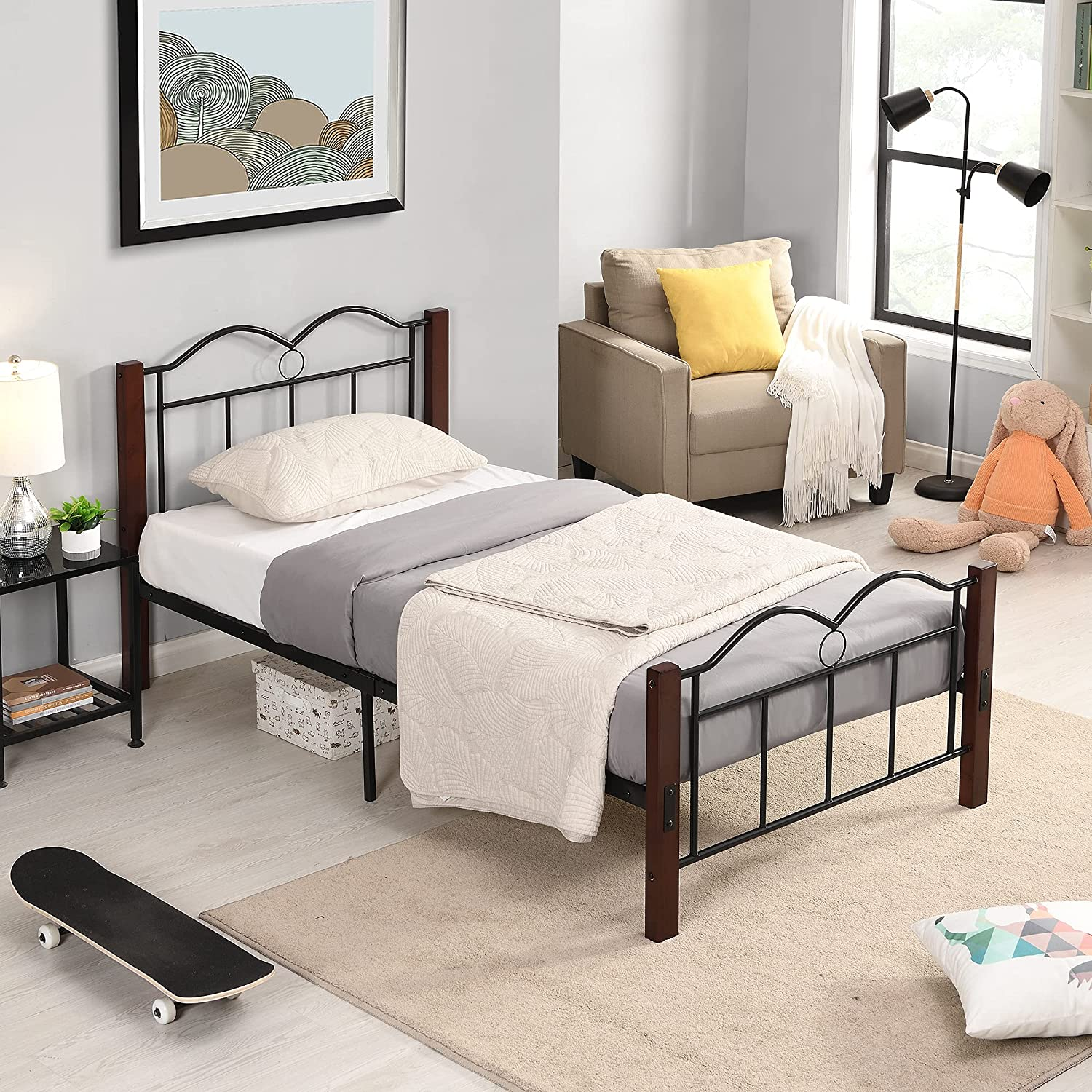 Twin Size Bed Frame Metal Hea Ranking TOP8 Mattress Over item handling ☆ Platform Foundation with