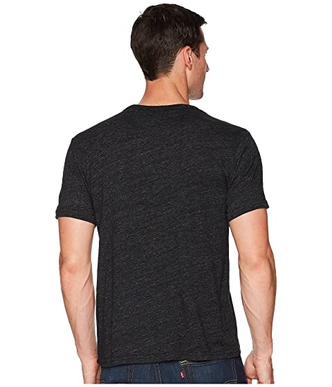 cuello Linen con camiseta Brand negro Pocket redondo Lucky en wafgqHn