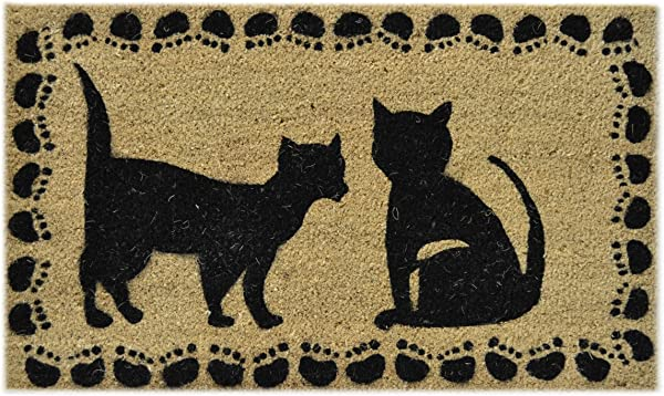 Imports Decor Vinyl Back Coir Doormat Two Cats 18 Inch By 30 Inch