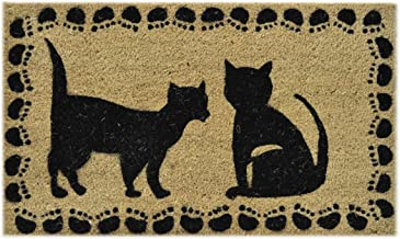Imports Decor Vinyl Back Coir Doormat, Two Cats, 18-Inch by 30-Inch