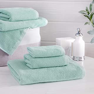 Welhome Franklin 100% Cotton Textured Towel (Aqua) - Set of 6 - Highly Absorbent - Combed Cotton - Durable - Low Lint - 600 GSM - Machine Washable : 2 Bath Towels - 2 Hand Towels - 2 Wash Towels