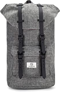 SEVENTEEN LONDON – Modern Unisex Outdoor Waterproof Hiking Grey Backpack with Classic Black Belt Detailing – Fits Laptop up to 15.6""