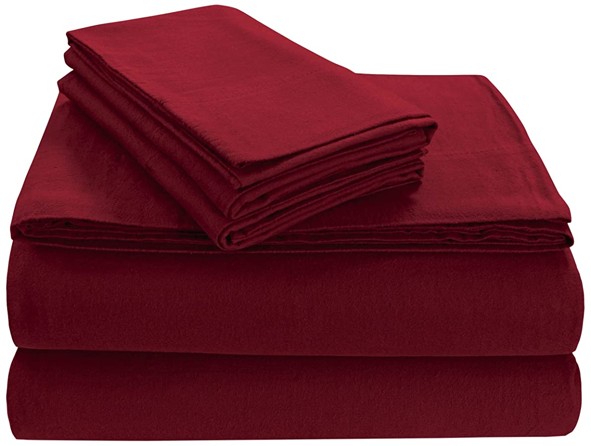 Tribeca Living FL170EDPCKIDR Soft 170-GSM Cotton Flannel Pillowcases, King, Deep Red