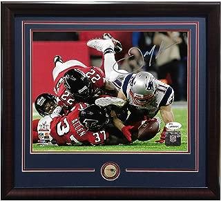 Julian Edelman signed 8x10 SB catch photo framed Patriots coin auto Steiner JSA
